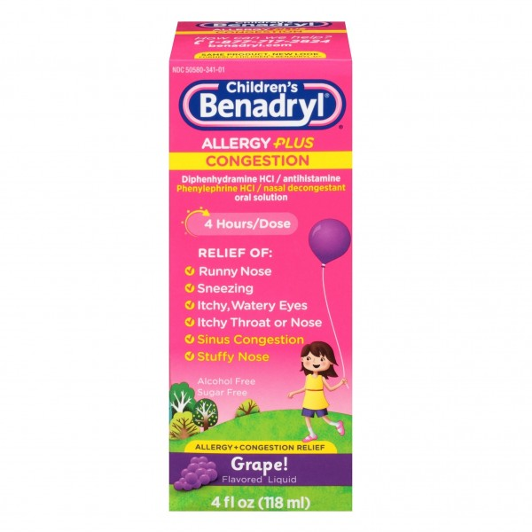 Children's Benadryl Allergy Plus Congestion Grape