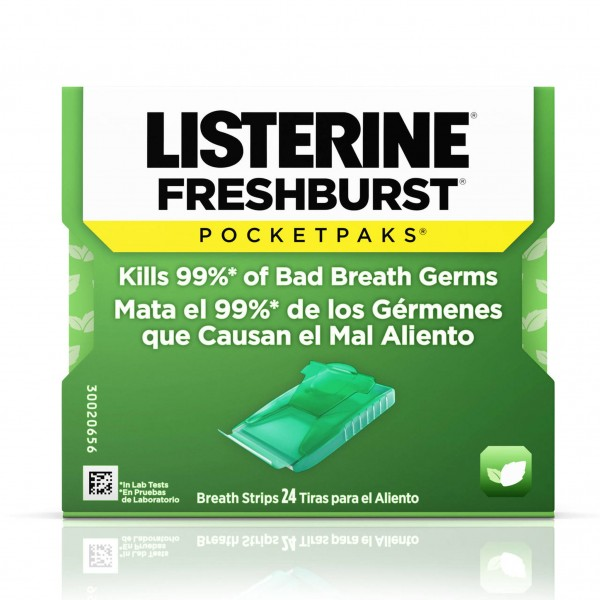 Listerine Pocketpaks Freshburst 24-Strips (Pack of 12)