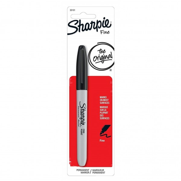 Sharpie Permanent Marker Fine Point Black (Pack of 6)
