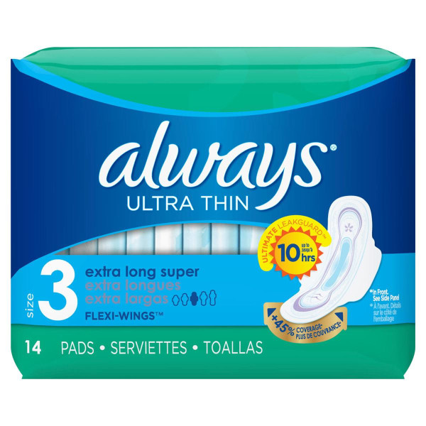 ALWAYS 14CT. EXTRA LONG SUPER W/WINGS UNSCENTED