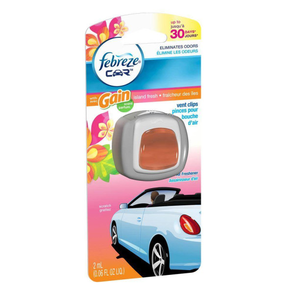 FEBREZE CAR VENT CLIP GAIN ISLAND FRESH .06OZ.