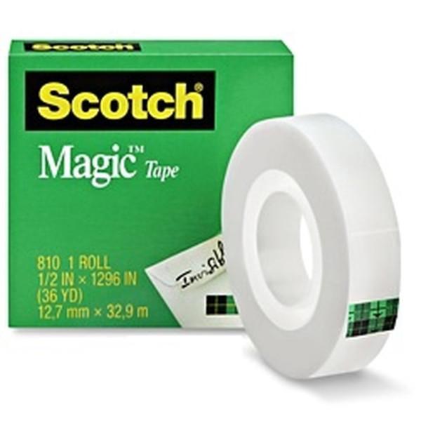 """3M Scotch 810 Magic Tape 1/2"""" x 1296"""" (Pack of 12)"""
