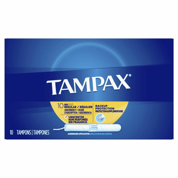 Tampax Cardboard Tampons Regular Unscented 10-Count