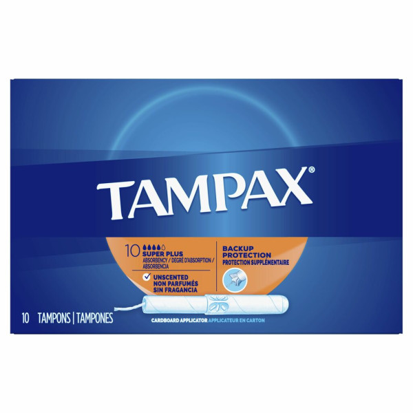 Tampax Cardboard Tampons Super Plus Unscented 10-Count