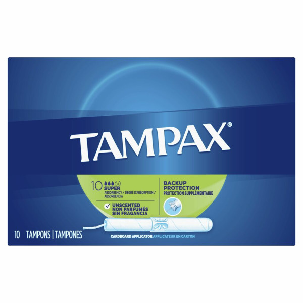 Tampax Cardboard Tampons Super Unscented 10-Count