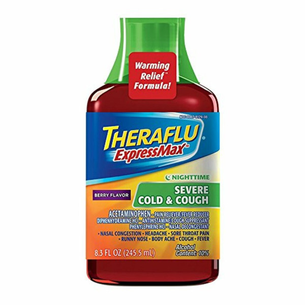 Theraflu ExpressMax Nighttime Severe Cold & Cough Syrup 8.3 fl oz