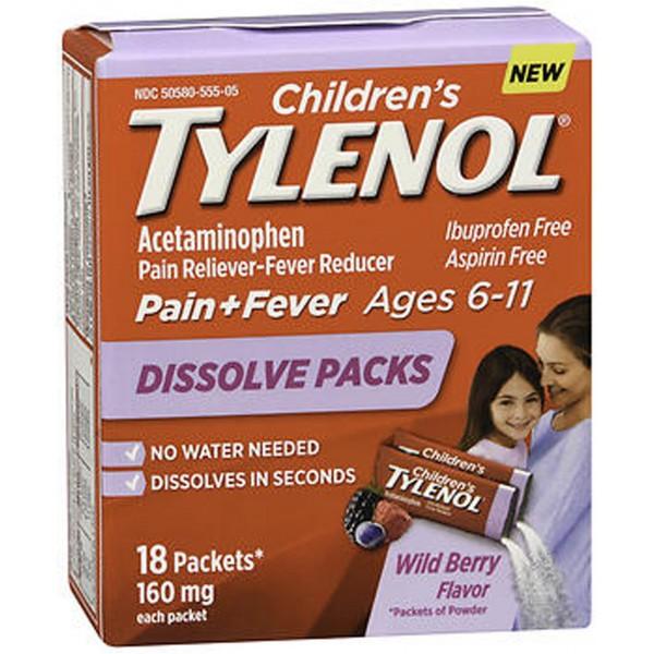 TYLENOL Children's Pain + Fever Dissolve Packs Wild Berry Flavor - 4 oz