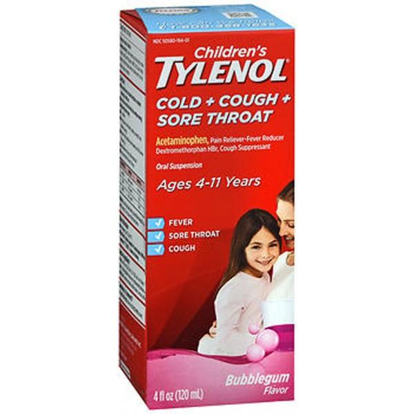 Tylenol Children's Cold + Cough + Sore Throat Oral Suspension Bubble Gum - 4 oz