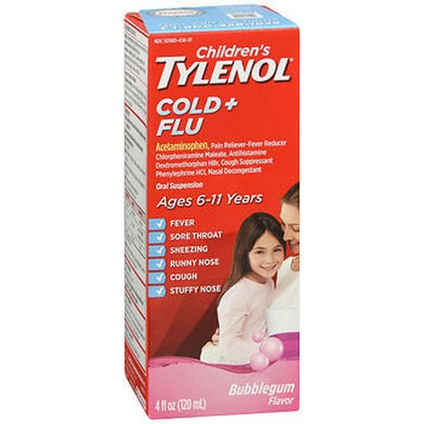 Tylenol Children's Cold + Flu Oral Suspension Bubblegum Flavor - 4 oz