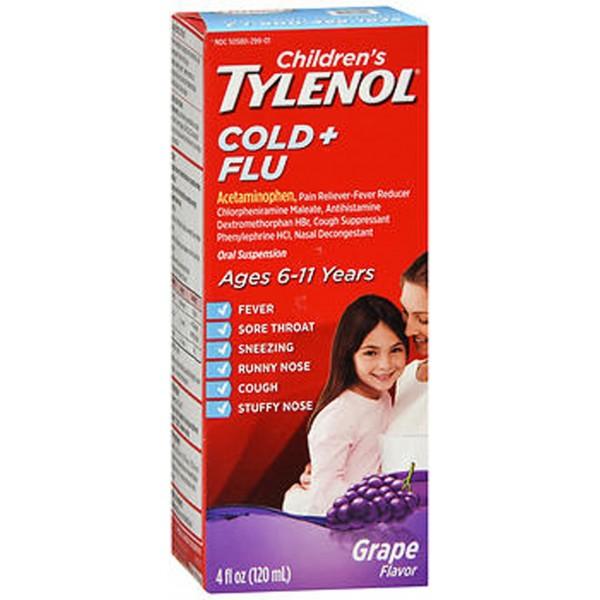 Tylenol Children's Cold + Flu Oral Suspension Grape - 4 oz