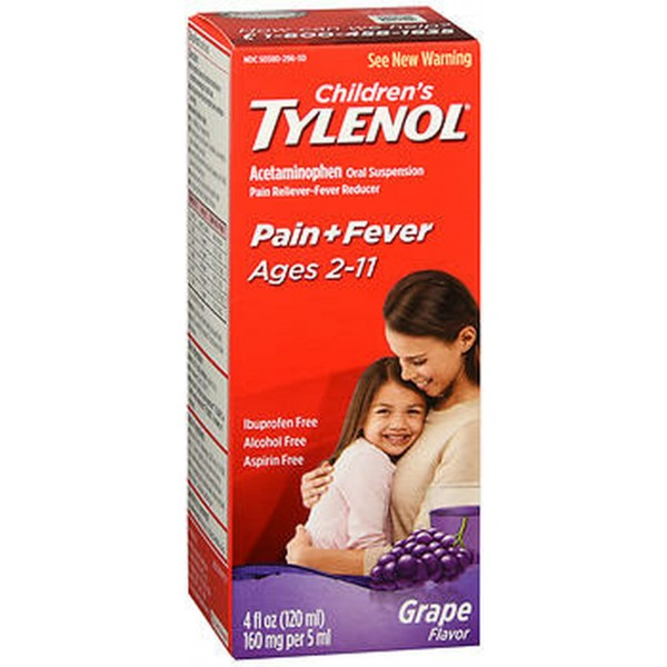 Tylenol Children's Oral Suspension Grape Splash Flavor - 4 oz